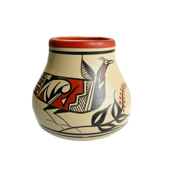 Mexican Pottery Painted Bird Vase Planter (Mexico)
