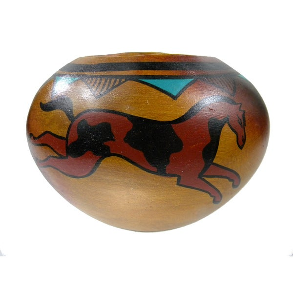 Mexican Pottery Painted Wild Horses Vase Planter (Mexico)