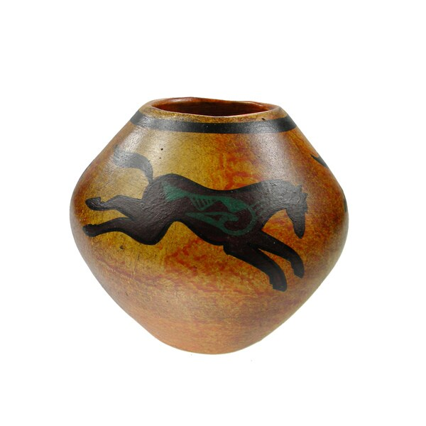 Mexican Pottery Painted Tribal Horses Vase Planter (Mexico)