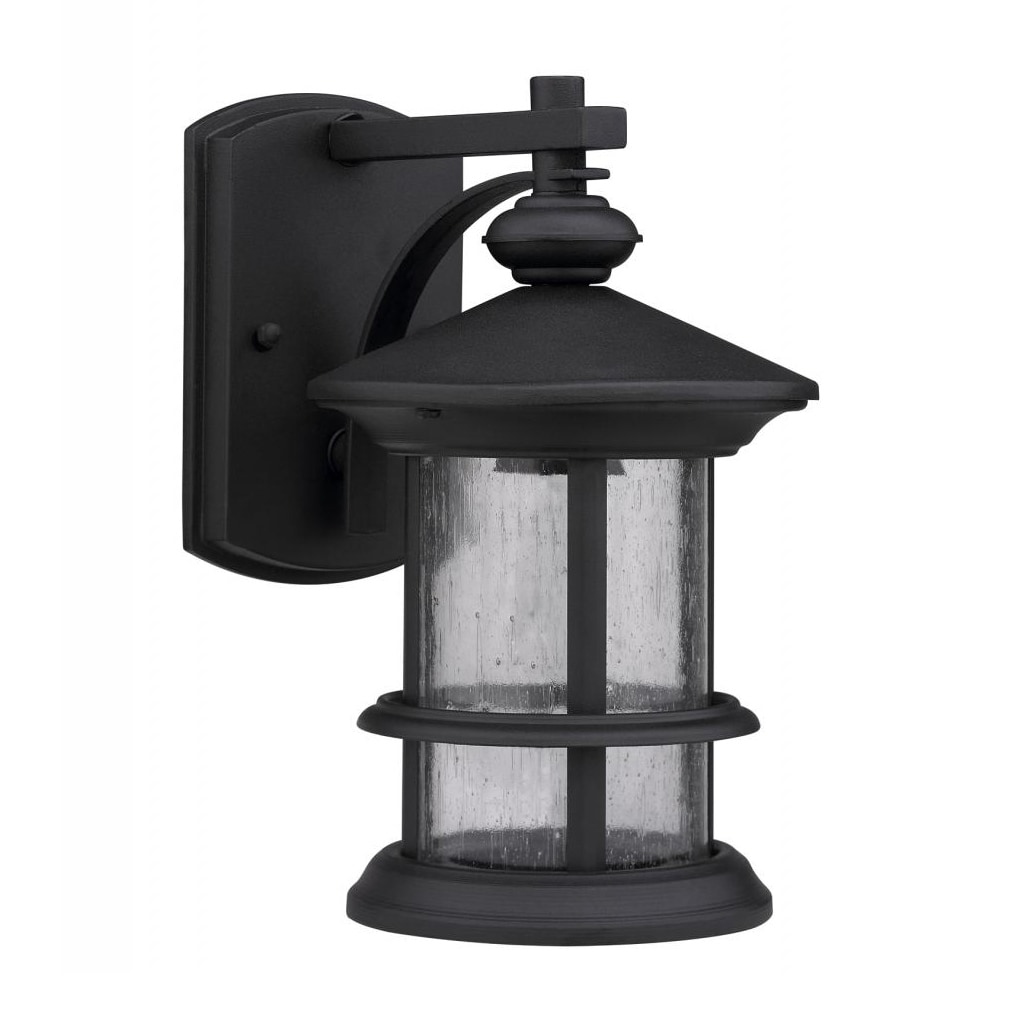 Chloe Transitional 1-light Black/ Clear Seeded Glass Outd...
