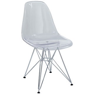 Plastic Dining Chair in Clear with Wire Base