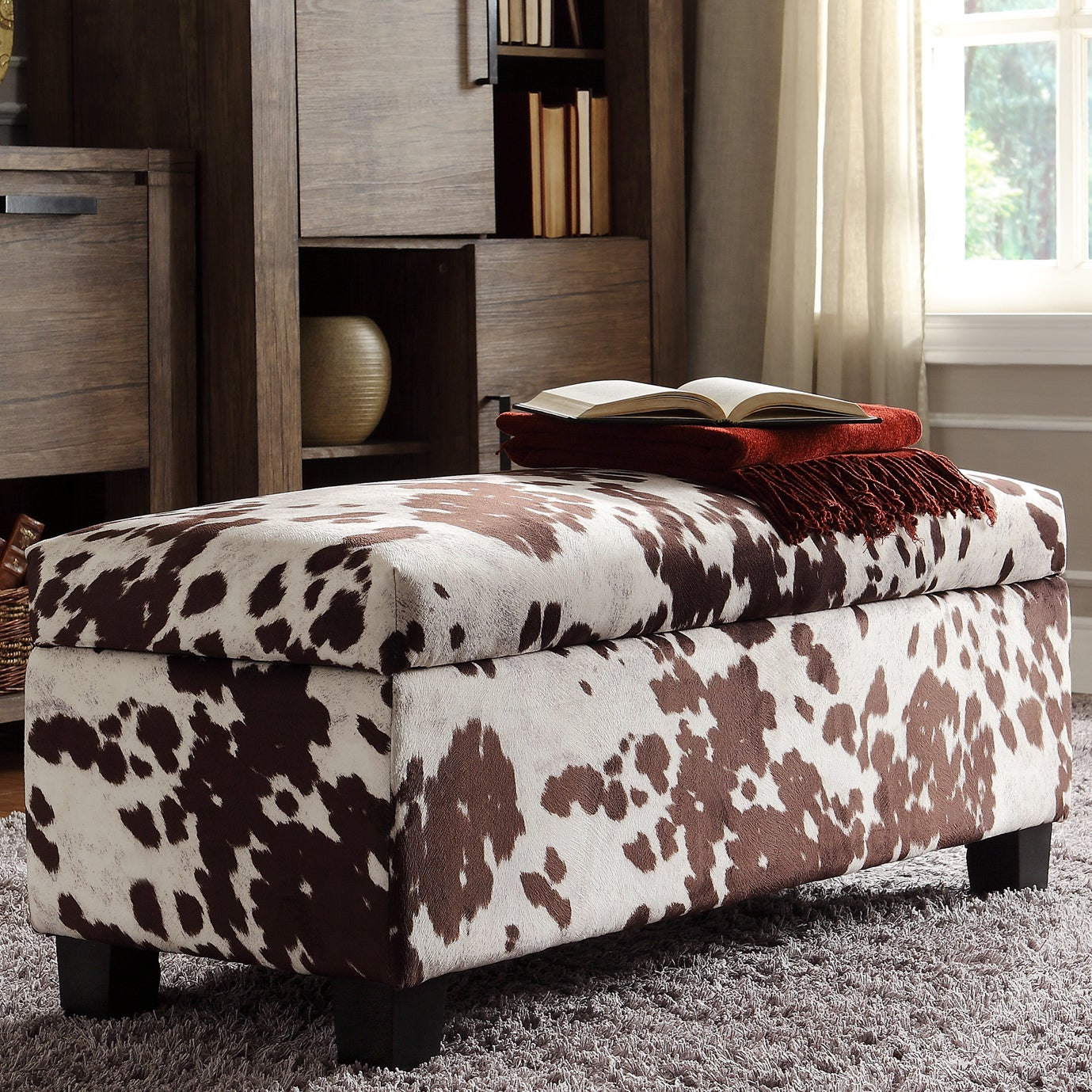 Sauganash Cowhide Print Lift Top Storage Bench by iNSPIRE...