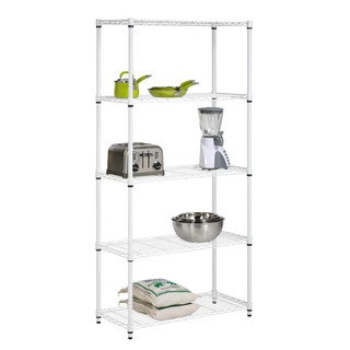 Five Tier White Storage Shelves