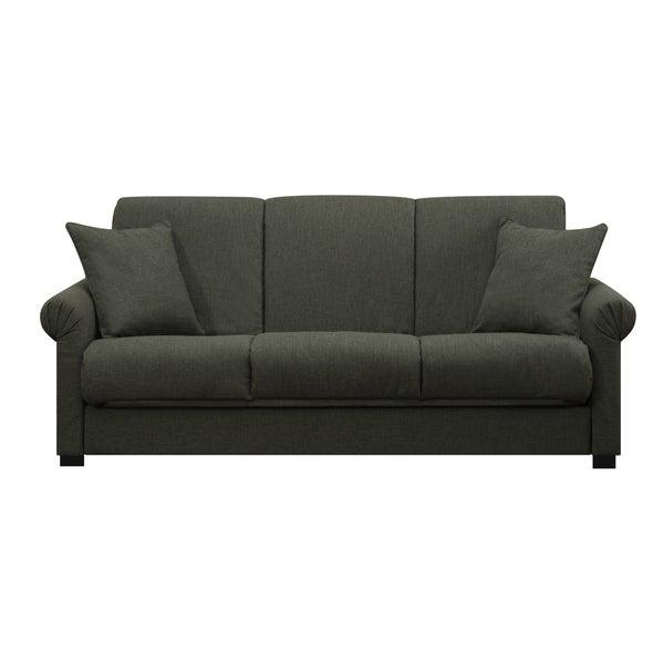 Handy Living Rio Convert-a-Couch Basil Green Linen Futon Sofa Sleeper