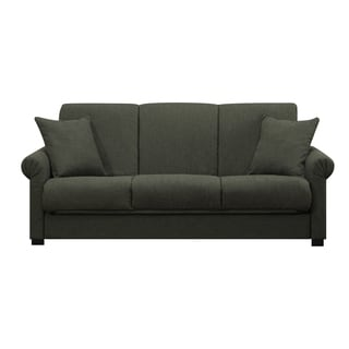 Handy Living Rio Convert-a-Couch Basil Green Linen Futon Sofa Sleeper