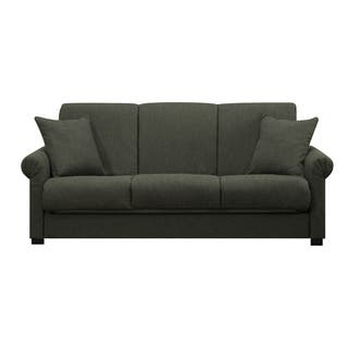 Handy Living Rio Convert A Couch Basil Green Linen Futon Sofa Sleeper