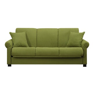 Handy Living Rio Convert-a-Couch Apple Green Linen Futon Sofa Sleeper