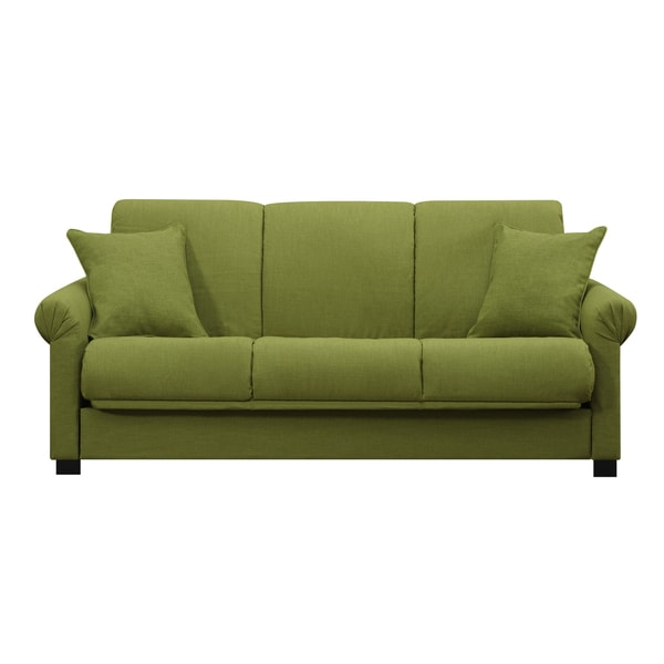 Handy Living Rio Convert a Couch Apple Green Linen Futon