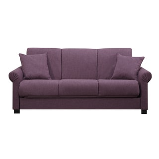 Handy Living Rio Convert-a-Couch Amethyst Purple Linen Futon Sofa Sleeper