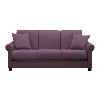 Handy Living Rio Convert-a-Couch Amethyst Purple Linen Futon Sofa Sleeper