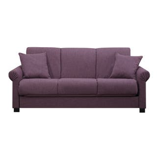 Handy Living Rio Convert A Couch Amethyst Purple Linen Futon Sofa Sleeper