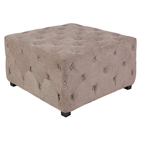 Handy Living Duncan Parisian Tan-Gray Velvet Large Tufted Cube Ottoman