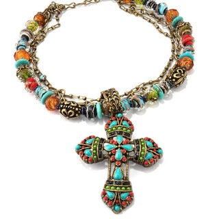 Sweet Romance Mayan Cross Lampwork Beads Southwest Desert Gypsy Necklace