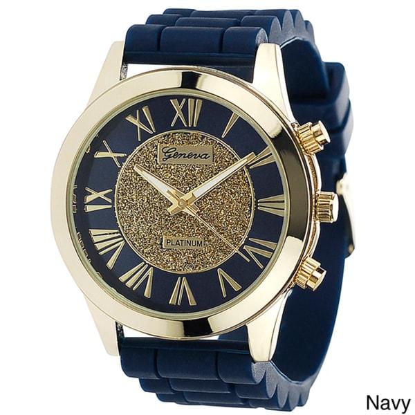 Geneva Women's Goldtone Bezel Platinum Silicone Watch