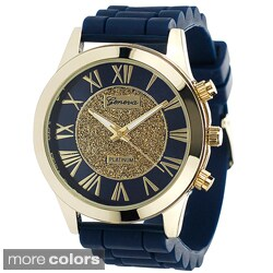 Geneva Women's Goldtone Bezel Platinum Silicone Watch