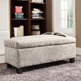 Sauganash Grey Chevron Lift Top Storage Bench by INSPIRE Q