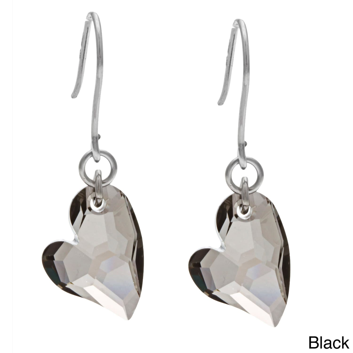 La Preciosa Sterling Silver Swarovski Elements Heart Earr...