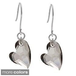 La Preciosa Sterling Silver Swarovski Elements Heart Earrings