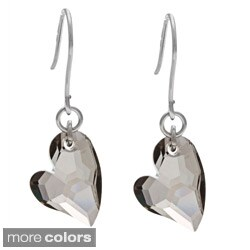 La Preciosa Sterling Silver Swarovski Elements Heart Earrings