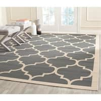 "Safavieh Courtyard Moroccan Pattern Anthracite/ Beige Indoor/ Outdoor Rug - 7'10"" x 7'10"" square"