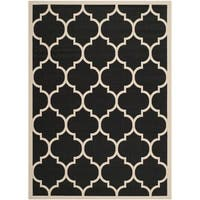 Safavieh Courtyard Moroccan Pattern Black/ Beige Indoor/ Outdoor Rug - 4' x 5'7'