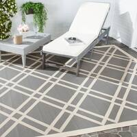 Safavieh Courtyard Anthracite/Beige Indoor/Outdoor Crisscross Pattern Rug - 5'3 x 7'7