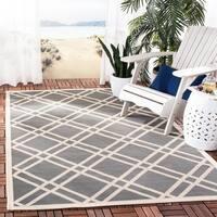 Safavieh Indoor/Outdoor Courtyard Anthracite/Beige Geometric Rug - 8' X 11'