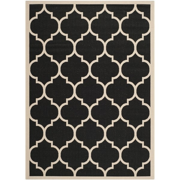 Safavieh Courtyard Moroccan Pattern Black/ Beige Indoor/ Outdoor Rug (9' x 12')