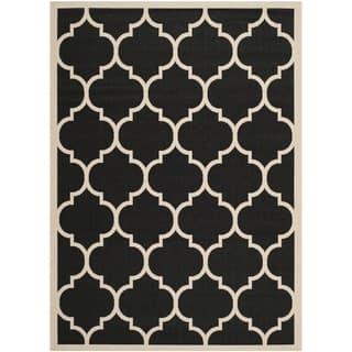 Safavieh Courtyard Moroccan Pattern Black Beige Indoor Outdoor Rug 9 X 12