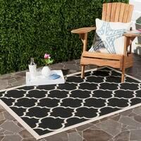 Safavieh Courtyard Moroccan Pattern Black/ Beige Indoor/ Outdoor Rug - 6'7' x 9'6'