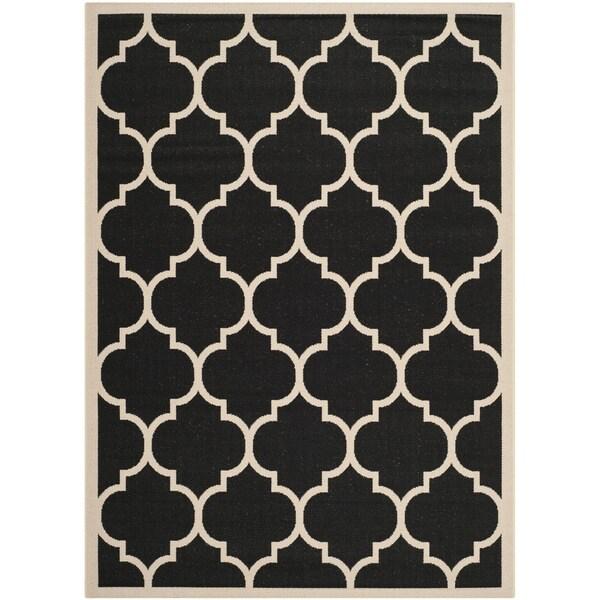 Safavieh Courtyard Moroccan Pattern Black Beige Indoor