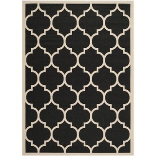 "Safavieh Courtyard Moroccan Pattern Black/ Beige Indoor/ Outdoor Rug (6'7"" x 9'6"")"