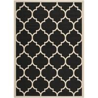 Safavieh Courtyard Moroccan Pattern Black/ Beige Indoor/ Outdoor Rug - 6'7 x 9'6