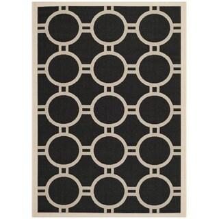 """Safavieh Indoor/Outdoor Courtyard Black/Beige Polypropylene Rug (5'3"""" x 7'7"""")"""