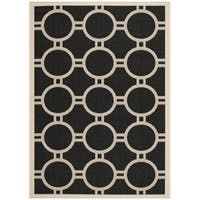 Safavieh Indoor/Outdoor Courtyard Black/Beige Circle-Pattern Rug - 8' X 11'