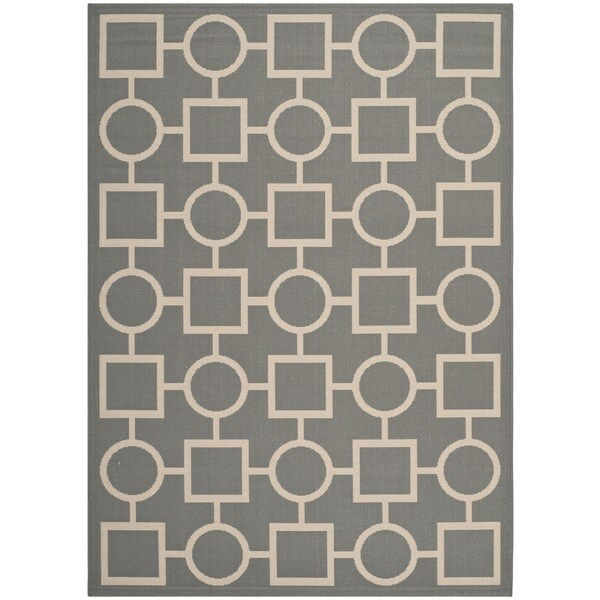 "Safavieh Courtyard Anthracite/Beige Indoor/Outdoor Multi-Shaped-Patterned Rug (5'3"" x 7'7"")"
