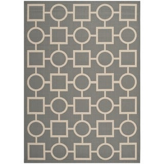 """Safavieh Courtyard Anthracite/Beige Indoor/Outdoor Multi-Shaped-Patterned Rug (5'3"""" x 7'7"""")"""