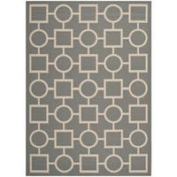 Safavieh Courtyard Anthracite/Beige Indoor/Outdoor Multi-Shaped-Patterned Rug - 5'3 x 7'7