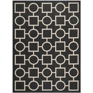 """Safavieh Indoor/Outdoor Courtyard Black/Beige Power-Loomed Rug (5'3"""" x 7'7"""")"""
