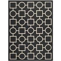 Safavieh Indoor/Outdoor Courtyard Black/Beige Power-Loomed Rug - 5'3 x 7'7