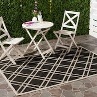 Safavieh Indoor/Outdoor Courtyard Black/Beige Polypropylene Rug - 8' X 11'