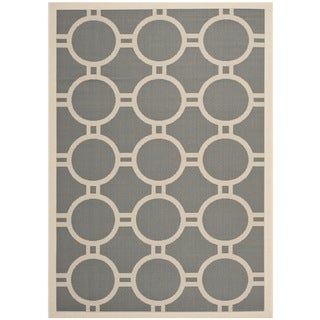 "Safavieh Courtyard Anthracite/Beige Indoor/Outdoor Circle-Patterned Rug (4' x 5'7"")"