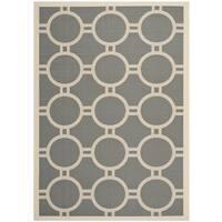 Safavieh Courtyard Anthracite/Beige Indoor/Outdoor Circle Pattern Rug - 5'3 x 7'7