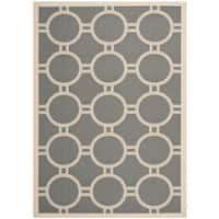 Safavieh Indoor/Outdoor Courtyard Anthracite/Beige Polypropylene Rug - 8' X 11'