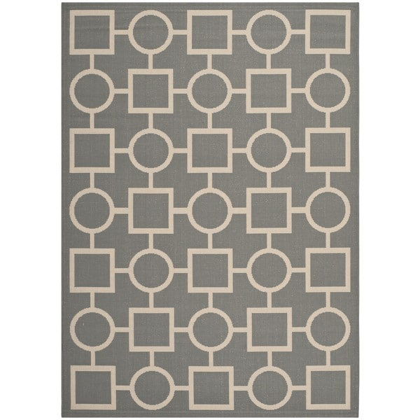 Safavieh Indoor/Outdoor Courtyard Rectangular Anthracite/Beige Rug - 8' x 11'