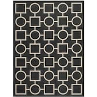 Safavieh Indoor/Outdoor Courtyard Black/Beige Geometric-Pattern Rug - 8' x 11'