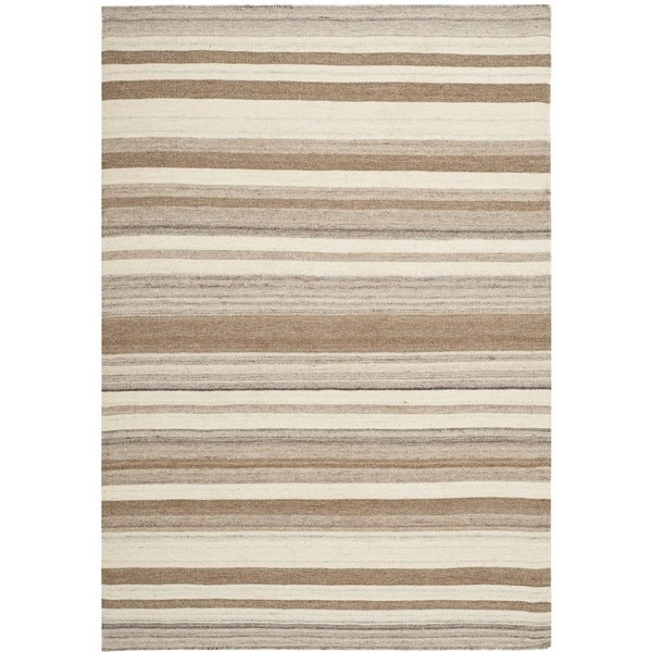 Safavieh Natural Handwoven Moroccan Reversible Dhurrie Wool Rug (5' x 8') - 5' x 8'