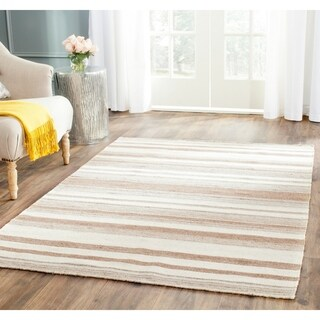 Safavieh Handwoven Moroccan Reversible Dhurrie Natural Wool Striped Rug (6' x 9')