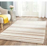 Safavieh Handwoven Moroccan Reversible Dhurrie Natural Wool Striped Rug - 6' x 9'