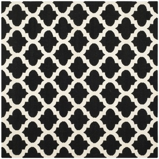 Safavieh Hand-woven Moroccan Reversible Dhurrie Black Wool Rug (6' Square)